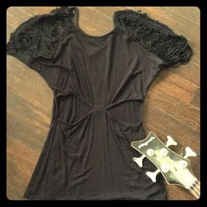 Strappy Black Bebe top for night out!